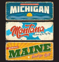 Usa states maine michigan montana signs plates vector