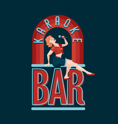 vintage bar emblem pin-up style girl with vector image