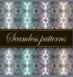 Vintage greek style waffle seamless patterns in vector