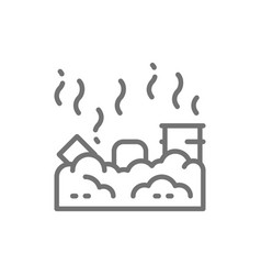 Waste landfill air pollution line icon vector
