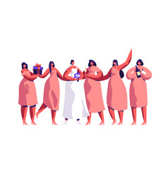 wedding ceremony fiancee and bridesmaid celebrate vector image