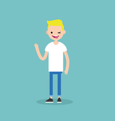 winking blond boy sticking out tongue emotional vector image vector image