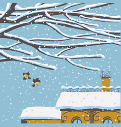winter cityscape with snow-covered roof and birds vector image