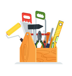 wooden toolbox icon vector image