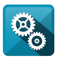 Cog - Gear Blue Rounded Square Icon vector image vector image