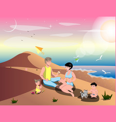 cute cartoon family on beach vector image vector image