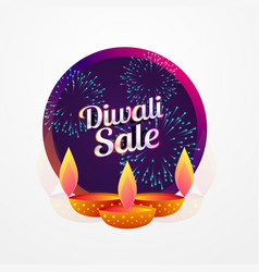 diwali festival sale poster design with diya and vector image