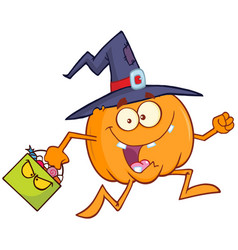 funny witch pumpkin with a halloween candy basket vector image