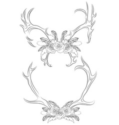set of contour deer antlers with roses and feather vector image