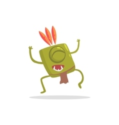 Square green manster in indian costume dancing vector