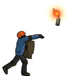 Vandal throws Molotov cocktail vector image