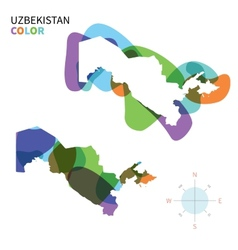 Abstract color map of Uzbekistan vector image vector image