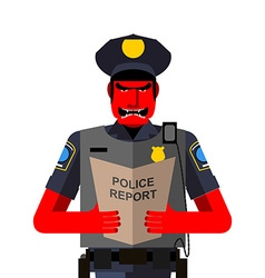 Angry policeman shouts Dreaded red man in a vector image vector image