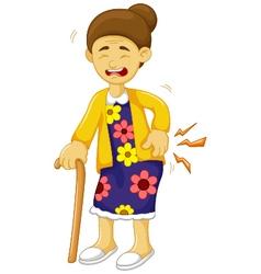 cartoon old grandmother was lumbago vector image