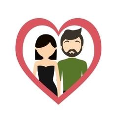 couple love frame heart fashionable modern vector image vector image