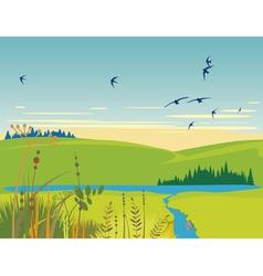 rural lake summer landscape vector image vector image