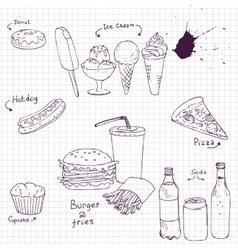 set of fast food sketch vector image vector image