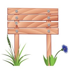 wooden board grass and a flower vector image vector image