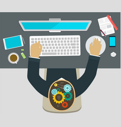 working at a computer brainstorming vector image