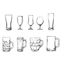 Beer glasses and mugs vector image vector image