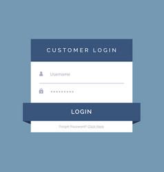 flat login form design on blue background vector image