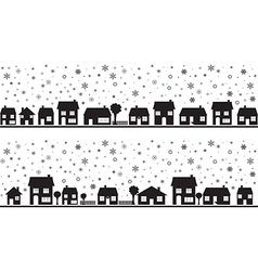 Neighborhood with snowflakes vector image