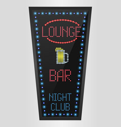 retro sign with blue lights and the word lounge vector image