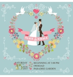 Retro wedding invitationBride groomfloral vector image vector image