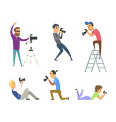 set of photographers at work male and female vector image