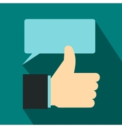Thumbs up and speech bubble icon flat style vector image