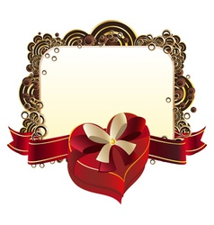 Heart Shaped Box with Ribbon2 vector image