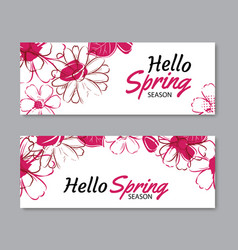 hello spring season banner template background vector image vector image