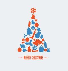 Vintage christmas tree vector image vector image