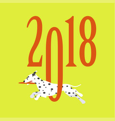 2018 greeting card with dog vector image