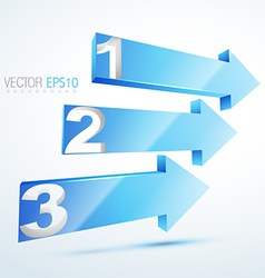 3d blue numbered arrows vector image