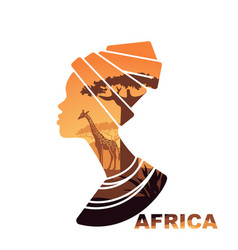 African woman s head silhouette with sunset view vector