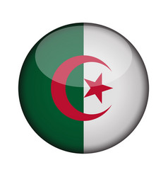 Algeria flag in glossy round button of icon vector