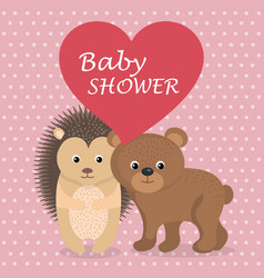 baby shower card with cute porcupine and bear vector image