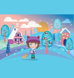 beautiful winter landscape with pretty girl and vector image