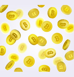 bitcoin cryptocurrency backdrop - falling coins vector image