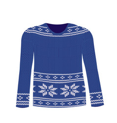 blue knitted sweater with nordic pattern vector image