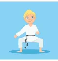 Boy In White Kimono In Defensive Stance On Karate vector