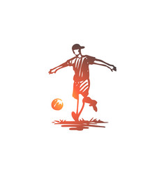 boy sport soccer ball child concept hand vector image