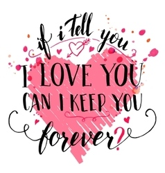 Brush calligraphic love quote card vector