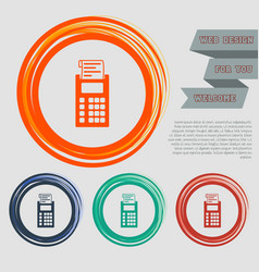 Calculator icon on red blue green orange vector