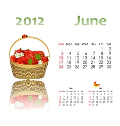 calendar 2012 with baskets vector image