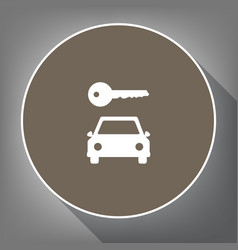 car key simplistic sign white icon on vector image