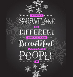 Card hand drawn snowflakes and inspiring quote vector