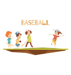 cartoon kids playing baseball vector image