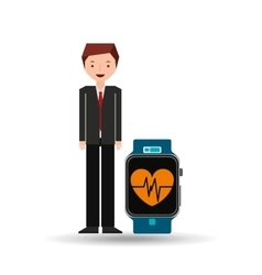 Cartoon man smart watch and pulse monitoring vector
